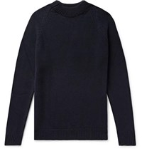Margaret Howell Merino Wool And Cashmere Blend Sweater Midnight Blue