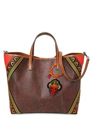 Etro Paisley Print Leather Tote Bag Brown
