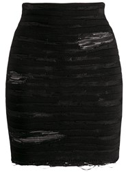 Balmain Distressed Striped Mini Skirt Black