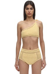 She Made Me One Shoulder Crochet Bikini Top Yellow