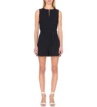 Victoria Beckham Sleeveless Wool Crepe Playsuit Blk Navy