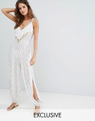 Akasa Coin Embellished Split Leg Beach Jumpsuit White Gold Print Black