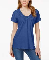 Jm Collection Short Sleeve V Neck Crochet Trim Top Only At Macy's Blue Steel