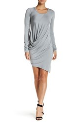 Go Couture Asymmetrical Long Sleeve Dress Gray