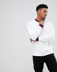 Asos Oversized Sweatshirt With Contrast Ribs White