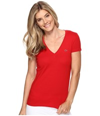 Lacoste Short Sleeve Cotton Jersey V Neck Tee Shirt Red Women's Short Sleeve Pullover