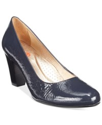 Marc Joseph New York Midtown Block Heel Pumps Women's Shoes Navy Patent