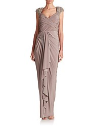 Mignon Ruched Jersey Beaded Gown Pale Jade