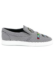 Mira Mikati Checked Patched Slip On Sneakers Black