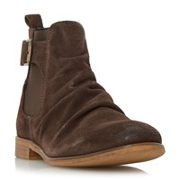 Dune Casper Buckle Strap Ruched Boots Brown