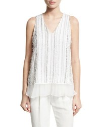 Brunello Cucinelli Monili Stripe Textured V Neck Tank White