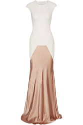 Esteban Cortazar Satin Paneled Ribbed Stretch Knit Gown Off White