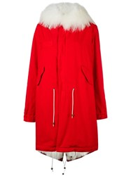 Mr And Mrs Italy Buttoned Parka Coat Red