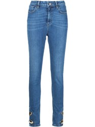 Anthony Vaccarello Skinny Button Ankle Jeans Blue