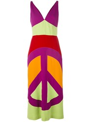 Moschino Vintage Peace Print Maxi Dress Multicolour