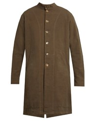 By Walid Sam Antique Linen Collarless Coat Grey