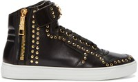 Versace Black Studded High Top Sneakers