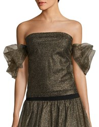 Necessary Objects Off The Shoulder Metallic Tulle Top Gold