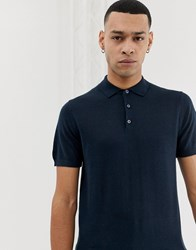 Selected Homme Knitted Polo Shirt In 100 Merino Navy