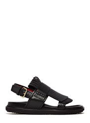 Marni Leather Fringe Sandals Black