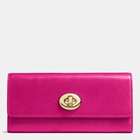 Coach Turnlock Slim Envelope Wallet In Smooth Leather Light Gold Cerise