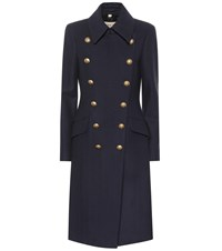 Burberry Double Breasted Wool Blend Coat Blue