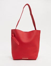 French Connection Mottled Leather Tote Bag Red