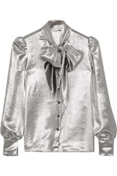 Saint Laurent Pussy Bow Silk Blend Lame Blouse Silver