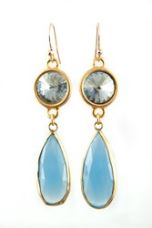 Isabella Tropea Crystal And Gemstone Daydreamer Earring Blue Chalcedony And Blue Shade Crystal