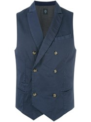 Eleventy Double Breasted Waistcoat Blue