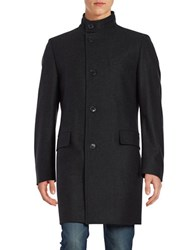 Hugo Wool Rich Car Coat Charcoal