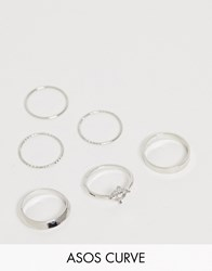 Asos Design Curve Pack Of 6 Rings With Engraved Heart Design And Graduated Band In Silver Tone
