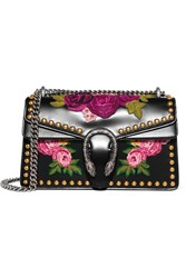 Gucci Dionysus Studded Appliqued Leather Shoulder Bag Black
