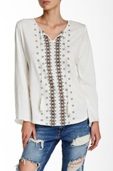 Angie Boho Embroidered Blouse White