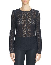 1.State Long Sleeve Lace Top Rich Black