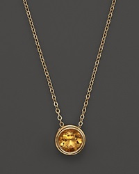 Bloomingdale's Citrine Bezel Set Pendant Necklace In 14K Yellow Gold 17 Orange Gold