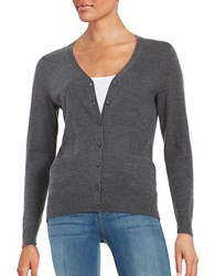 Lord And Taylor Petite Merino Wool Button Front Cardigan Graphite Heather