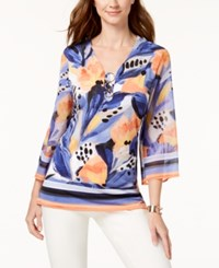 Jm Collection Printed V Neck Top Created For Macy's Bold Foliage