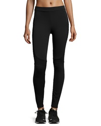 X By Gottex Textured Stripe Moto Leggings Black