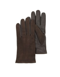 Forzieri Brown Touch Screen Leather Men's Gloves Dark Brown