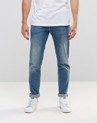 Asos Stretch Slim Jeans In 12.5Oz In Light Blue Wash Light Blue