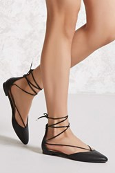 Forever 21 Lace Up Faux Leather Flats