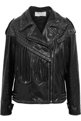 Valentino Fringed Embellished Leather Biker Jacket Black