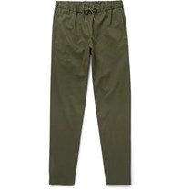 A.P.C. Kaplan Tapered Cotton Blend Drawstring Trousers Green
