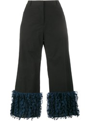 Rosie Assoulin Cropped Ruffle Trousers Black