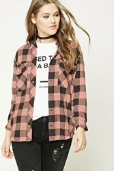 Forever 21 Distressed Buffalo Plaid Shirt Pink Charcoal