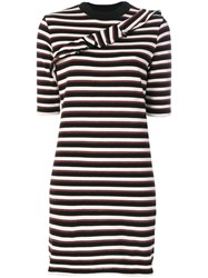 Maison Kitsune Striped Fitted Dress Cotton Polyamide Polyester Xs