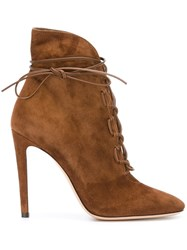 Gianvito Rossi 'Ricca' Heeled Boots Brown