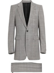 Burberry Slim Fit Prince Of Wales Check Wool Cashmere Suit Grey