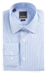 David Donahue Men's Big And Tall Slim Fit Check Dress Shirt Blue